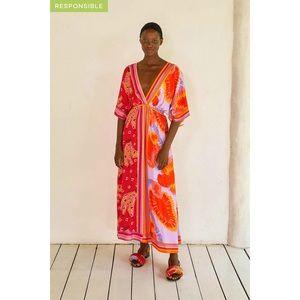 Farm Rio Dual Scarves Print Midi Dress